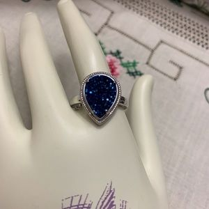 Blue Drusy Quarts Sterling Silver Ring